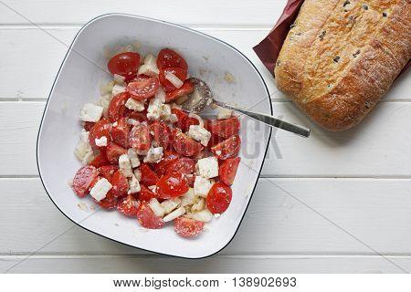 homemade cherry tomato and feta salad with ciabatta bread