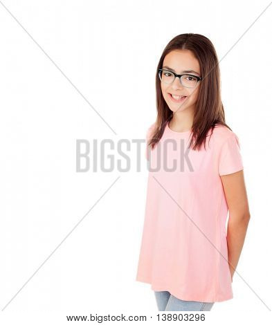 Pretty preteenager girl with glasses isolated on a white background