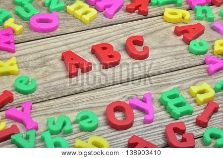 ABC word on wooden table