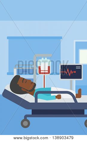 An african-american man lying in bed at hospital ward. Patient with heart rate monitor and equipment for blood transfusion in medical room. Vector flat design illustration. Vertical layout.