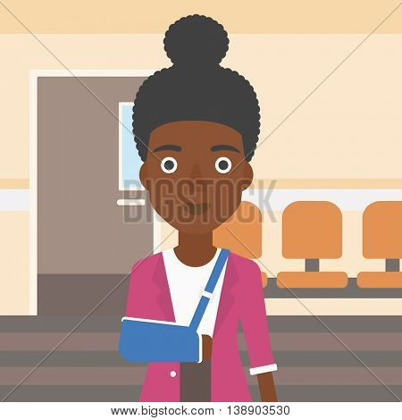 An african-american young woman with broken right arm in brace standing in the hospital corridor. Vector flat design illustration. Square layout.