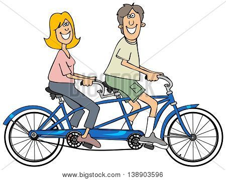 Illustration of a man and woman riding on a blue bicycle built for two.