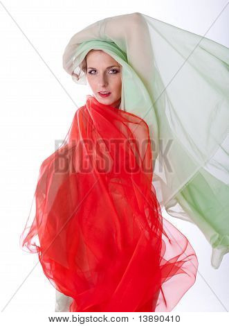 Green and red veil covers a sexy woman