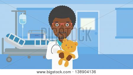 An african-american male pediatrician doctor holding a teddy bear on the background of hospital room. Vector flat design illustration. Horizontal layout.