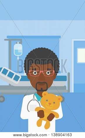 An african-american male pediatrician doctor holding a teddy bear on the background of hospital room. Vector flat design illustration. Vertical layout.