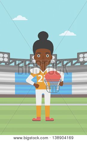 An african-american professional rugby player holding ball and helmet in hands. Female rugby player in uniform standing on rugby stadium. Vector flat design illustration. Vertical layout.