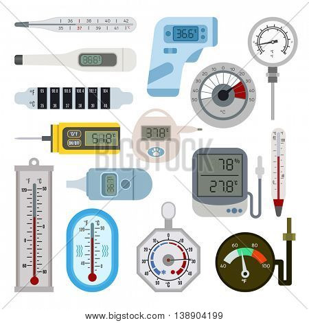 Thermometers vector set.