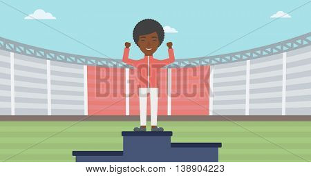 An african-american sportswoman celebrating on the winners podium. Sportswoman standing on the first place on the winners podium with raised hands. Vector flat design illustration. Horizontal layout.