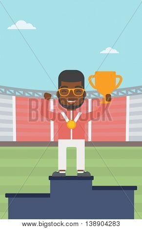 An african-american sportsman celebrating on the winners podium. Man with gold medal and trophy cup standing on the winners podium. Winner concept. Vector flat design illustration. Vertical layout.