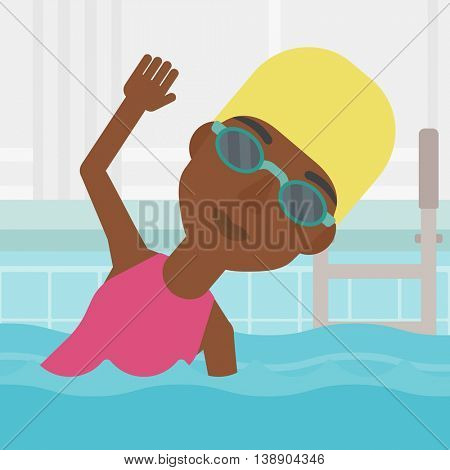 An african-american sportswoman wearing cap and glasses swimming in pool. Professional female swimmer in swimming pool. Vector flat design illustration. Square layout.