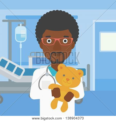 An african-american male pediatrician doctor holding a teddy bear on the background of hospital room. Vector flat design illustration. Square layout.