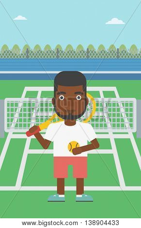 An african-american tennis player standing on the tennis court. Male tennis player holding a tennis racket and a ball. Man playing tennis. Vector flat design illustration. Vertical layout.