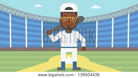 An african-american baseball player with the beard standing on a baseball stadium. Professional baseball player with a bat on his shoulder. Vector flat design illustration. Horizontal layout.