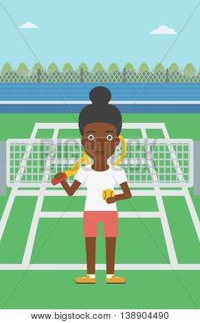 An african-american female tennis player standing on the tennis court. Tennis player holding a tennis racket and a ball. Young woman playing tennis. Vector flat design illustration. Vertical layout.