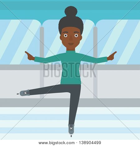 An african-american female figure skater performing on indoor ice skating rink. Young female figure skater dancing. Vector flat design illustration. Square layout.