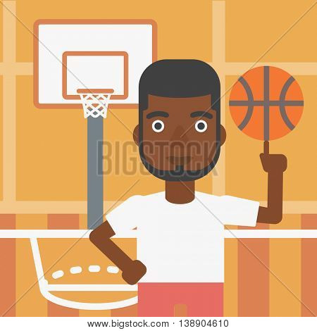 An african-american sportsman spinning basketball ball on his finger. Young basketball player standing on the basketball court. Vector flat design illustration. Square layout.