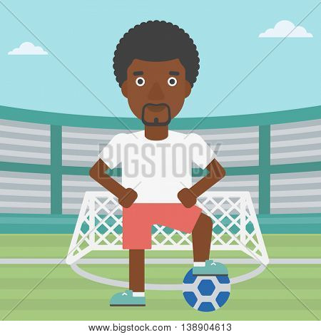 An african-american sportsman standing with football ball on the football stadium. Professional football player with a soccer ball on the field. Vector flat design illustration. Square layout.