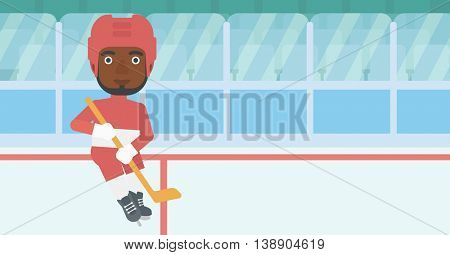 An african-american ice hockey player with the beard skating on ice rink. Ice hockey player with a stick. Sportsman playing ice hockey. Vector flat design illustration. Horizontal layout.