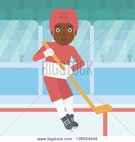An african-american female ice hockey player skating on ice rink. Professional ice hockey player with a stick. Sportswoman playing ice hockey. Vector flat design illustration. Square layout.