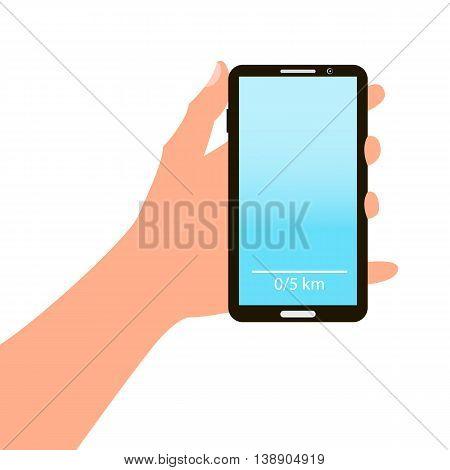 Hand holding smart phone on blue background. cartoon design