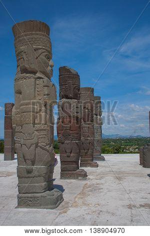 Beautiful ancient Toltec sculpture Atlante of Tula Hidalgo
