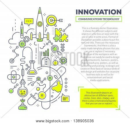 Vector creative concept illustration of innovation with header and text on white background. Innovation technology composition template. Hand draw flat thin line art style monochrome design green and yellow colors for innovation and research theme