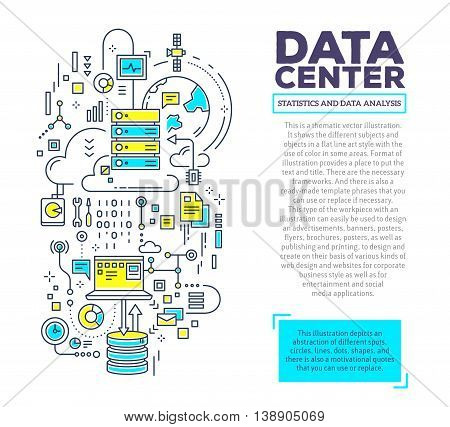 Vector creative concept illustration of data center with header and text on white background. Server technology composition template. Hand draw flat thin line art style monochrome design green and yellow colors for server technology theme