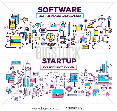 Vector creative concept illustration of software and technology startup on white background. Horizontal composition template. Hand draw flat thin line art style monochrome design for application development and startup technology theme