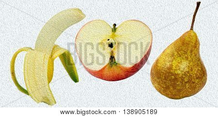 Banana, apple, pear oil painting on a white background