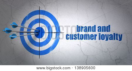 Success advertising concept: arrows hitting the center of target, Blue Brand and Customer loyalty on wall background, 3D rendering