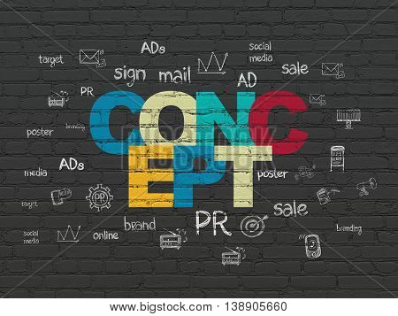 Advertising concept: Painted multicolor text Concept on Black Brick wall background with  Hand Drawn Marketing Icons