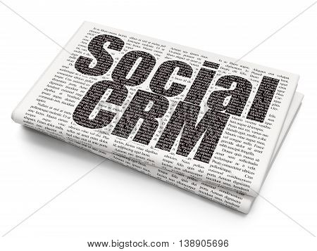 Marketing concept: Pixelated black text Social CRM on Newspaper background, 3D rendering