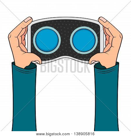VR headset in hand icon isolated on white background in cartoon style