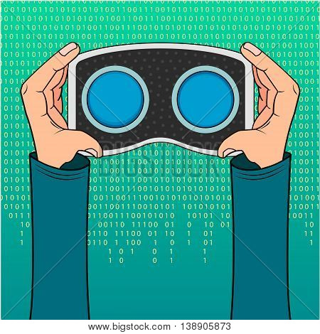 VR headset in hand icon on a green background with the numbers zero or one