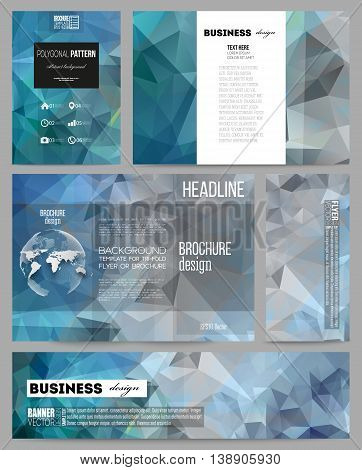 Set of business templates for presentation, brochure, flyer or booklet. Abstract blue polygonal background, colorful backdrop, modern stylish vector texture.
