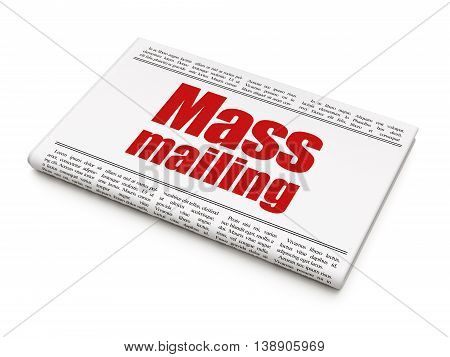 Marketing concept: newspaper headline Mass Mailing on White background, 3D rendering