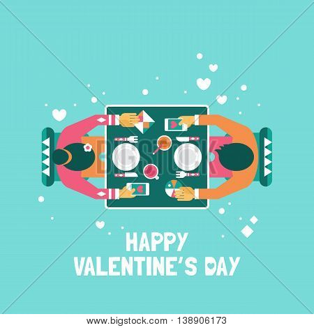 Valentine's day date concept. Woman and man sitting at restaurant table. Modern stylish vector illustration