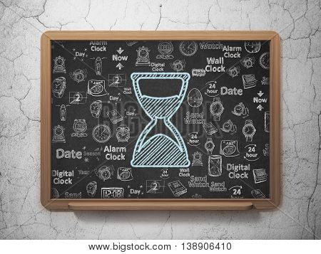 Time concept: Chalk Blue Hourglass icon on School board background with  Hand Drawing Time Icons, 3D Rendering