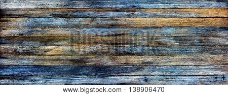 panoramic grunge background of old wooden planks and toning