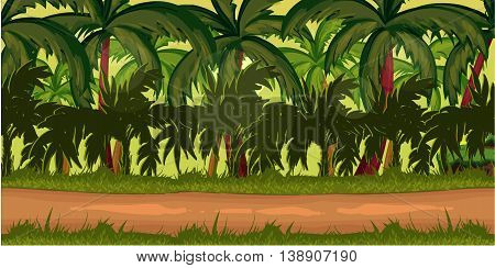 Jungles Game Background for 2d game application. Vector design. Tileable horizontally. Size 1024x512.
