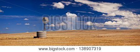 Windmill in field in South Australia, Australia