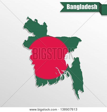 Bangladesh map with flag inside and ribbon
