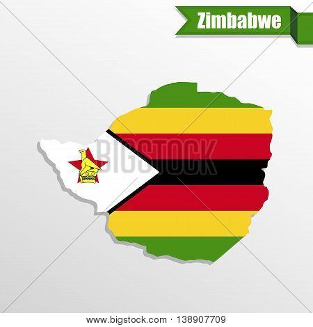 Zimbabwe map with flag inside and ribbon