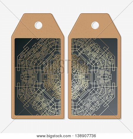 Vector tags design on both sides, cardboard sale labels. Golden technology pattern on dark background with connecting lines and dots, connection structure. Digital scientific vector