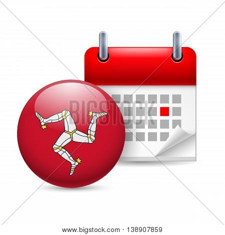 Calendar and round flag icon. National holiday on Isle of Man. Vector.