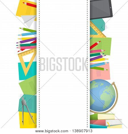 Rectangel frame surrounded with school supplies. Vector illustration in cartoon style for business presentations.