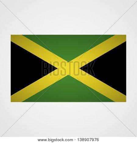 Jamaica flag on a gray background. Vector illustration