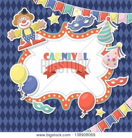 Carnival celebration background with stickers. Party invitation design. Vector illustration