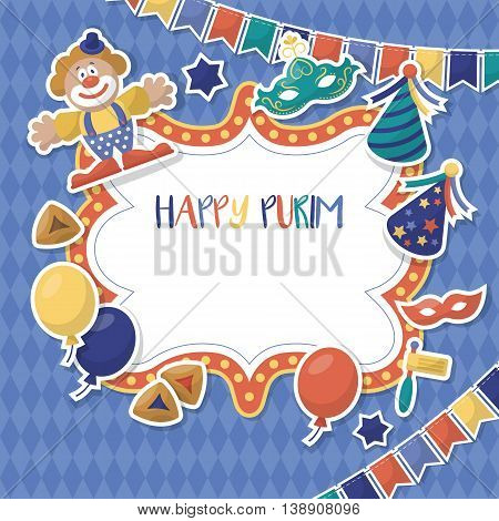Purim holiday banner design with stickers. Vector illustration