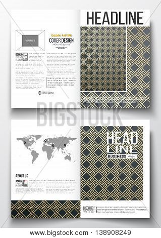 Set of business templates for brochure, magazine, flyer, booklet or annual report. Islamic gold pattern with overlapping geometric square shapes forming abstract ornament. Vector golden texture.